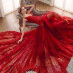 Extravagante maxi robe rouge saint valentin