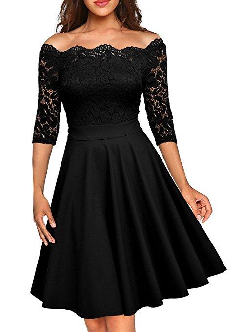 Jolie robe noire epaules denudees dentelle saint valentin mi longueur