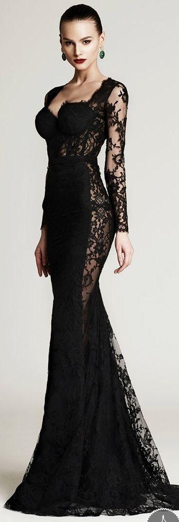 Robe maxi longue noire saint valentin full dentelle