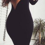 Robe noire glamour beau decollete dos nu saint valentin