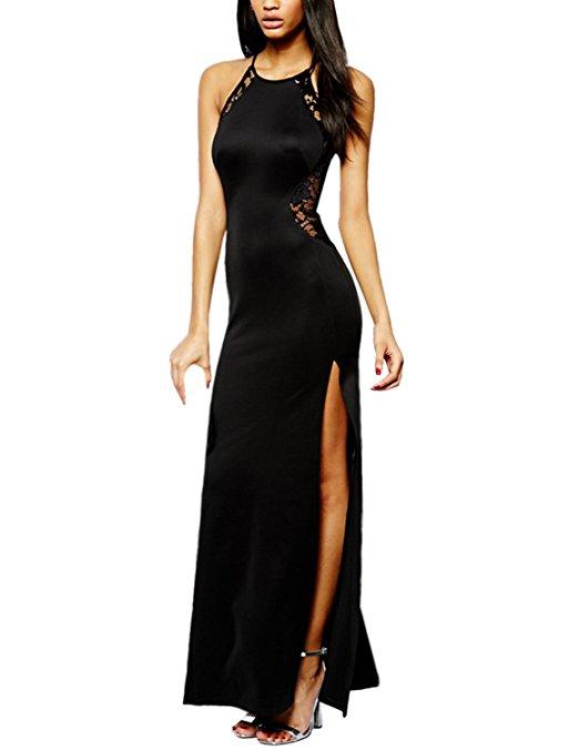Robe noire sans manche moulante et fendue saint valentin