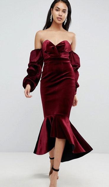 Robe soiree glamour velour rouge st valentin asos